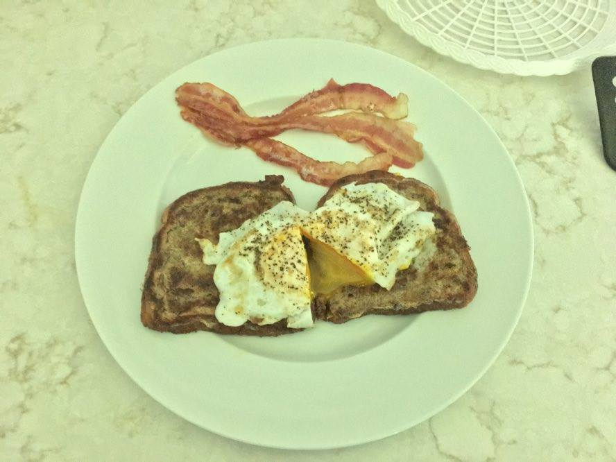 Duck eggs over toast